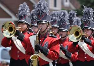 High School Marching Band Performing in the Festival