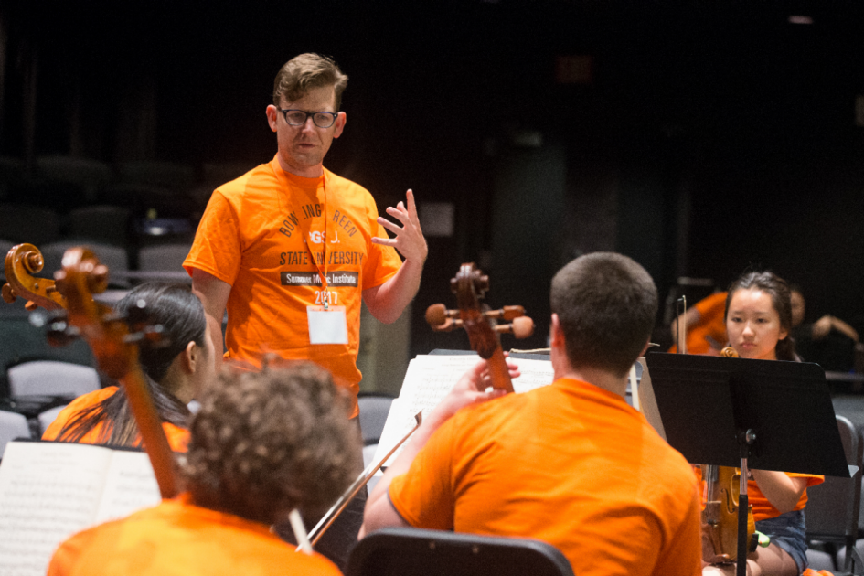An ensemble rehearsal at the Bowling Green State University's Summer Music Institute