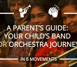 middle school children holding music instruments at the start of their musical journey