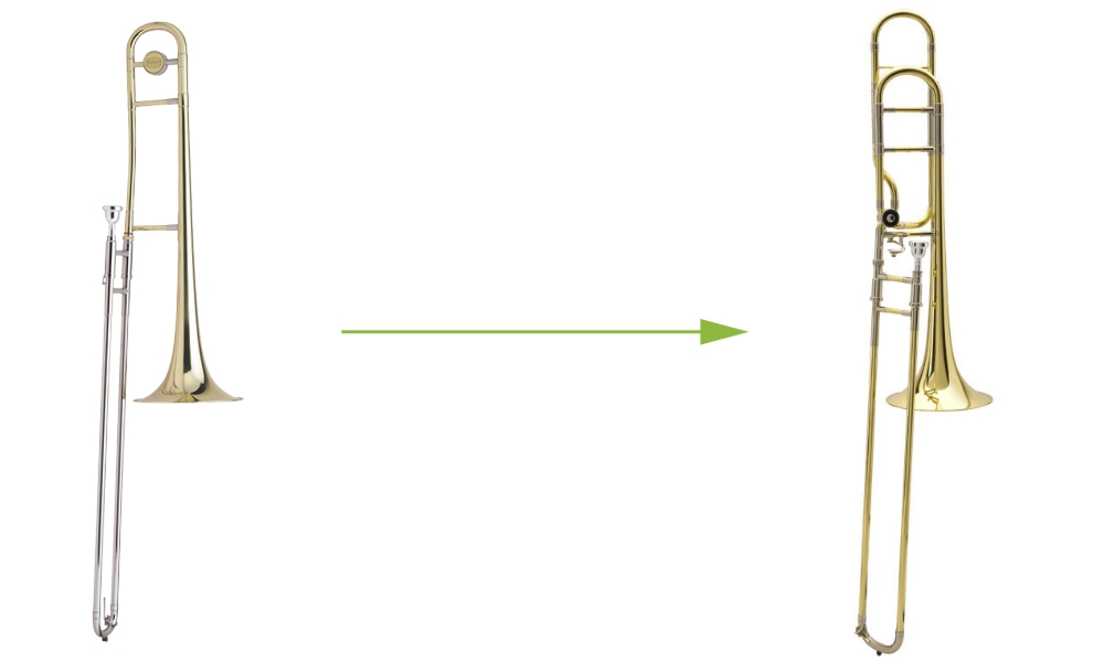 A student trombone and an intermediate trombone,