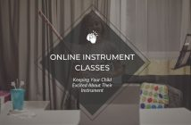 Girl playing the violin for her online instrument class